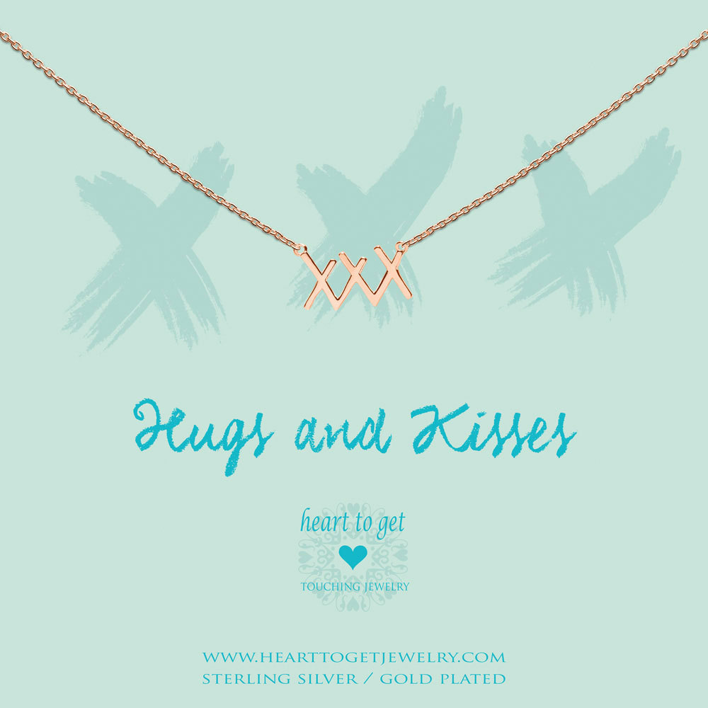 Heart to get N275XXX16R hugs & kisses necklace ' xxx ' rosegoldplated