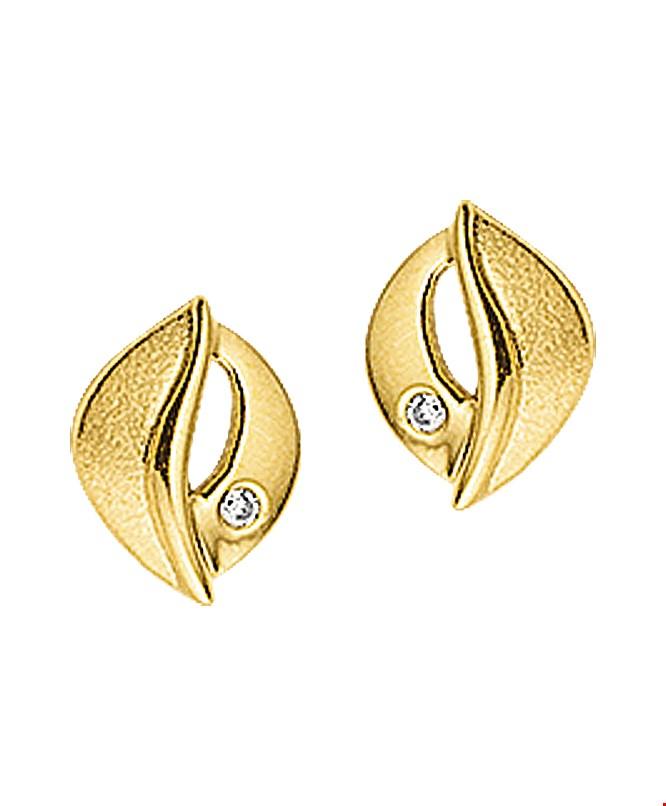 The Jewelry Collection Oorknoppen Zirkonia Poli/mat - Geelgoud