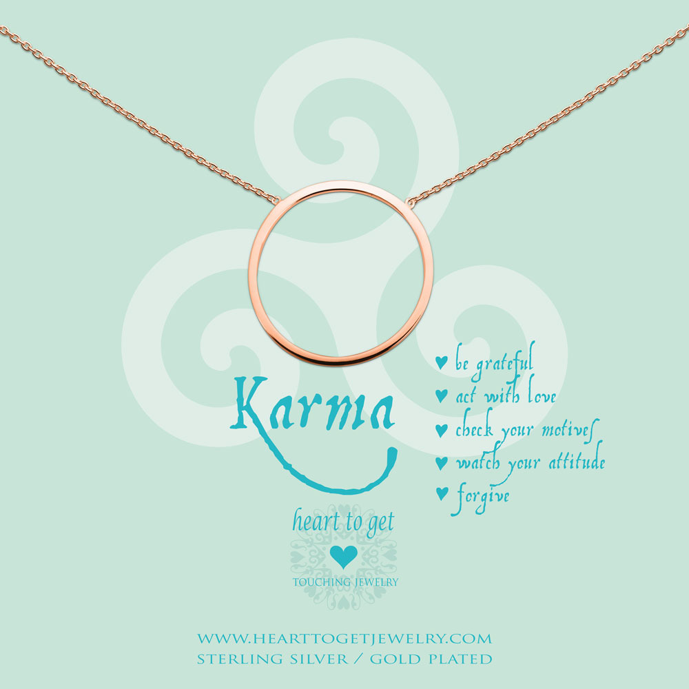 Heart to get N237BKR14R Ketting Be Grateful, act with love... zilver rosekleurig
