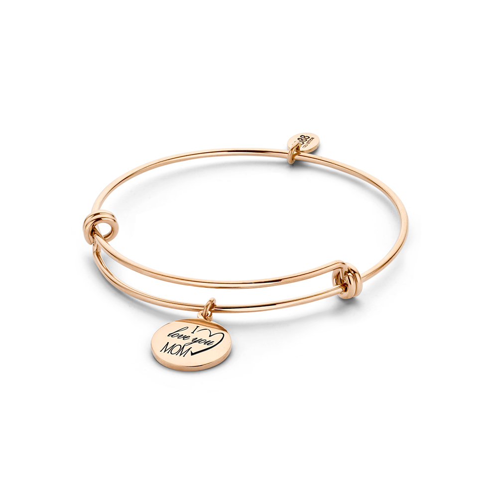 CO88 Collection Beloved 8CB 90235 Stalen Armband met Hangers - I Love You Mom - One-size - Rosekleur