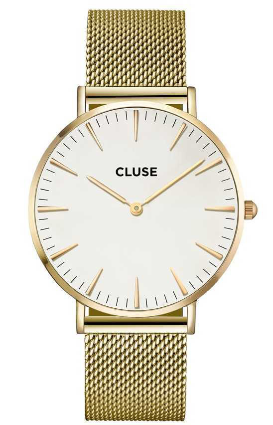 CLUSE CW0101201009 LA Boheme Mesh Goldplated White horloge