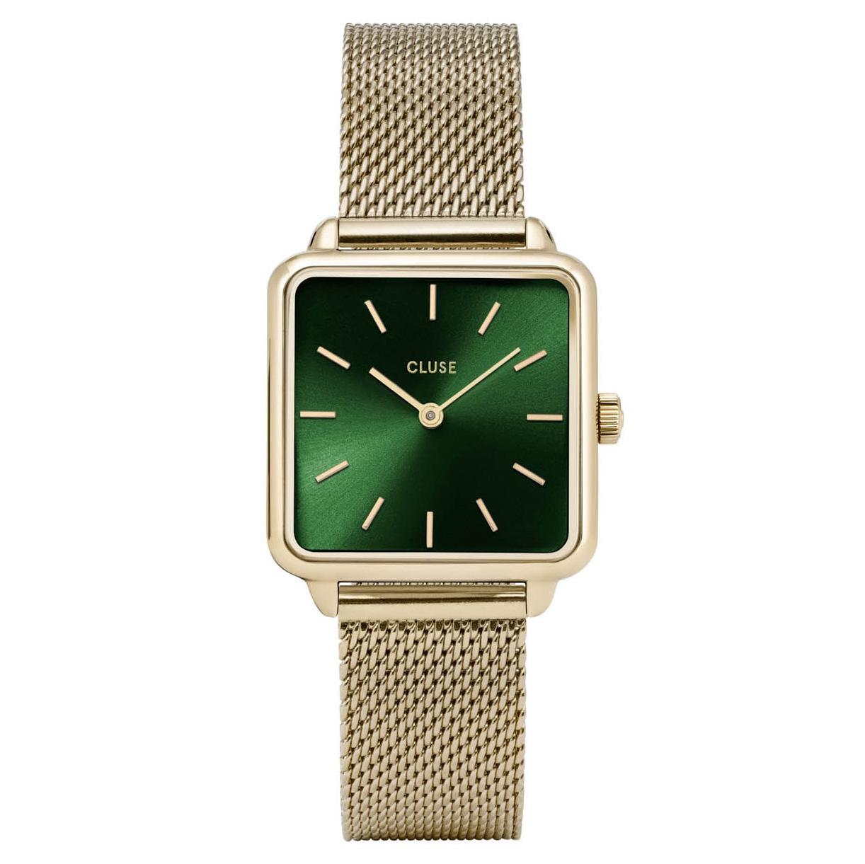 Cluse CW0101207013 Horloge La Tetragone Mesh goudkleurig-groen 29 mm