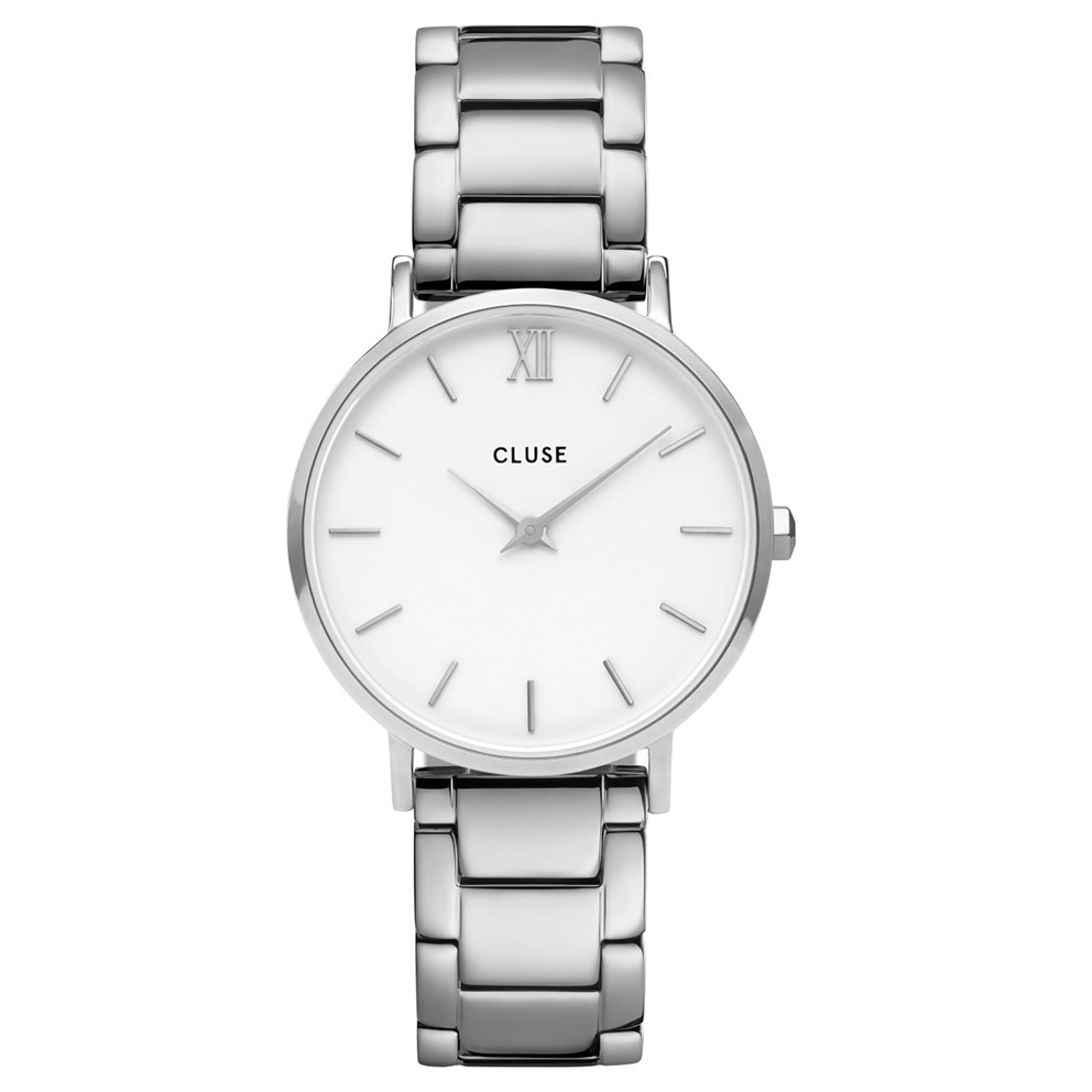 CLUSE CW0101203026 Horloge Minuit 3-Link White Silver 33 mm