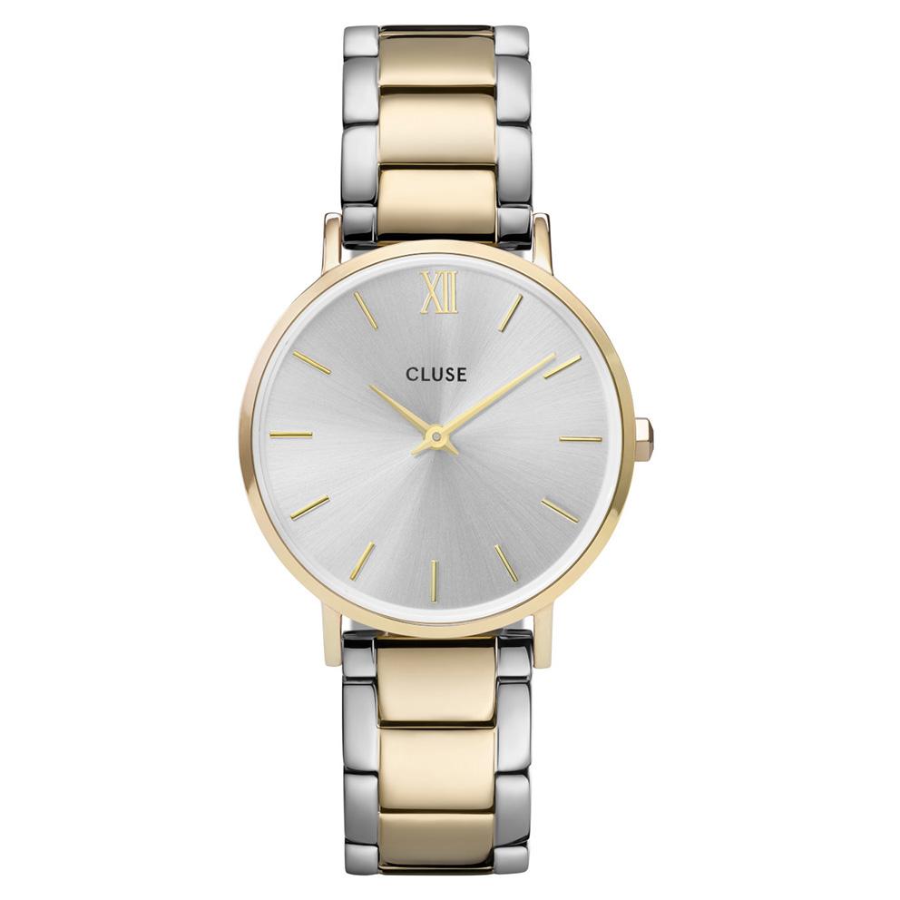 CLUSE CW0101203028 Horloge Minuit 3-Link Silver Gold 33 mm