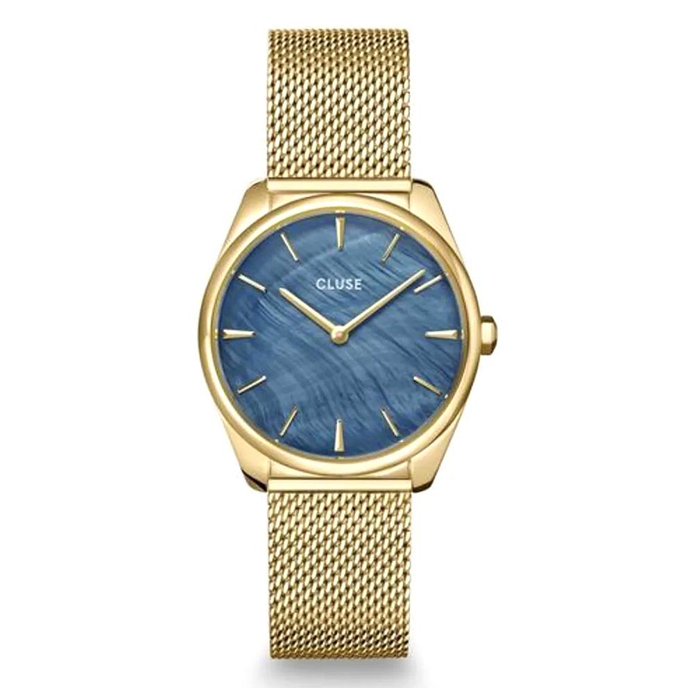 CLUSE CW0101212007 Horloge Feroce Petit Mesh goudkleurig-blauw