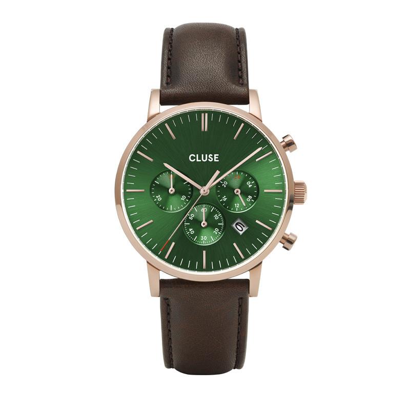 Cluse CW0101502006 Herenhorloge Chronograaf Aravis rosekleurig-groen-bruin 40 mm