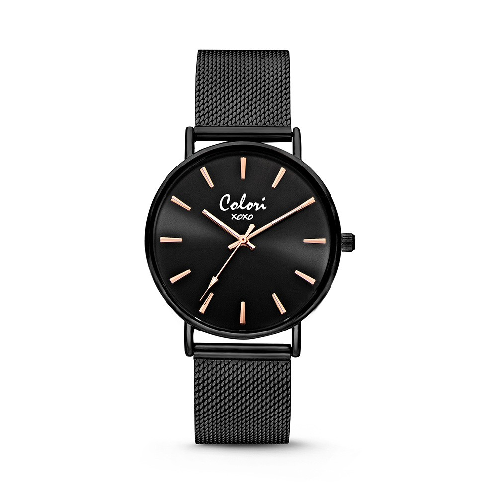 Colori - XOXO - 5-COL449 - Horloge - Mesh band - zwart - 36 mm
