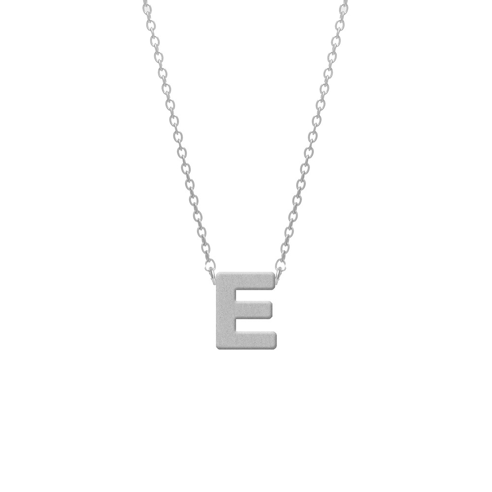 CO88 Collection 8CN-11004 - Stalen collier - letterhanger E 9 mm - lengte 42+5 cm - zilverkleurig