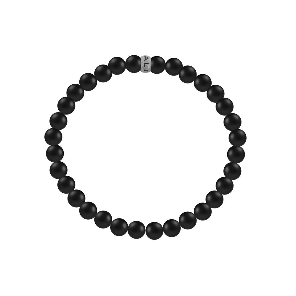 Kaliber 7KB-0037M - Heren armband met stalen elementen - Kaliber logo - mat Agaat natuursteen 4 mm - maat M (18 cm) - zwart / zilverkleurig