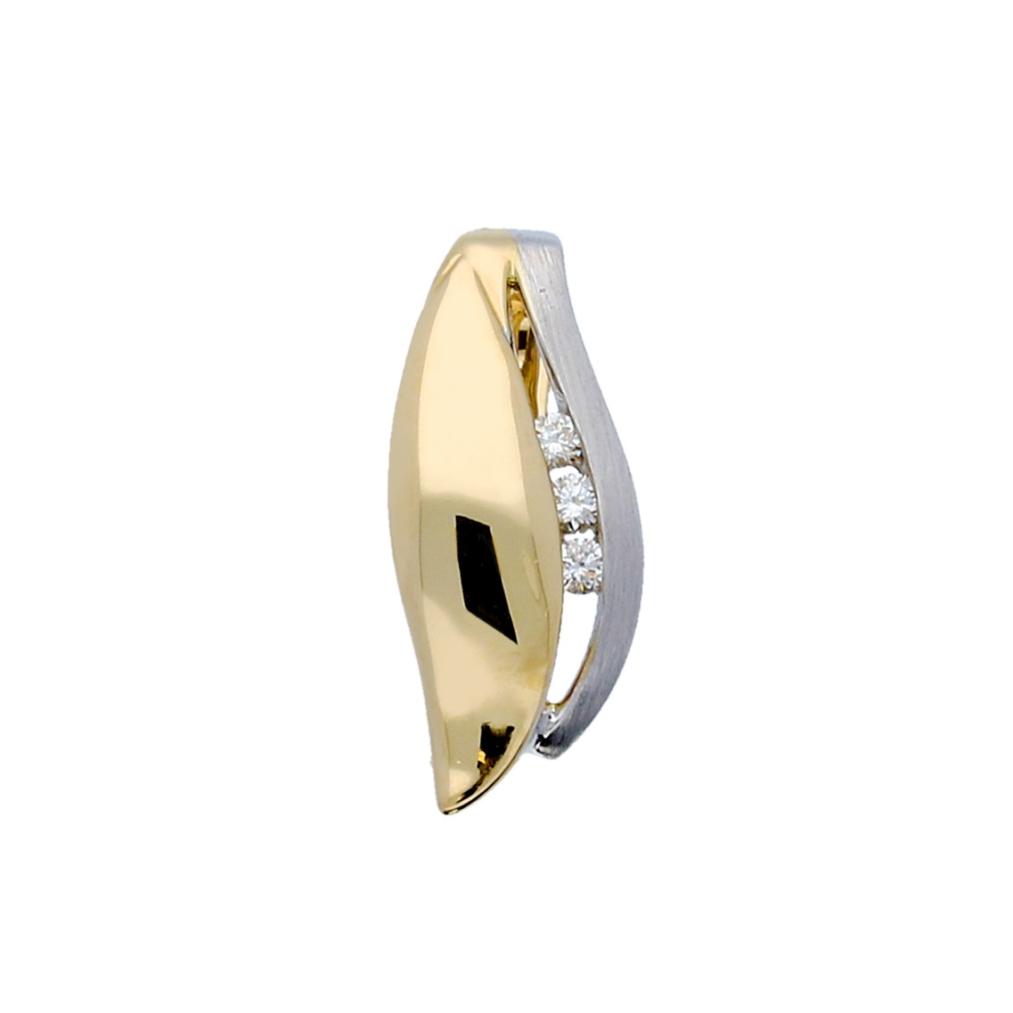 Glow Gouden Hanger - Mat Glanzend 3 Diamant 0.05ct Gh/si3 220.5252.00