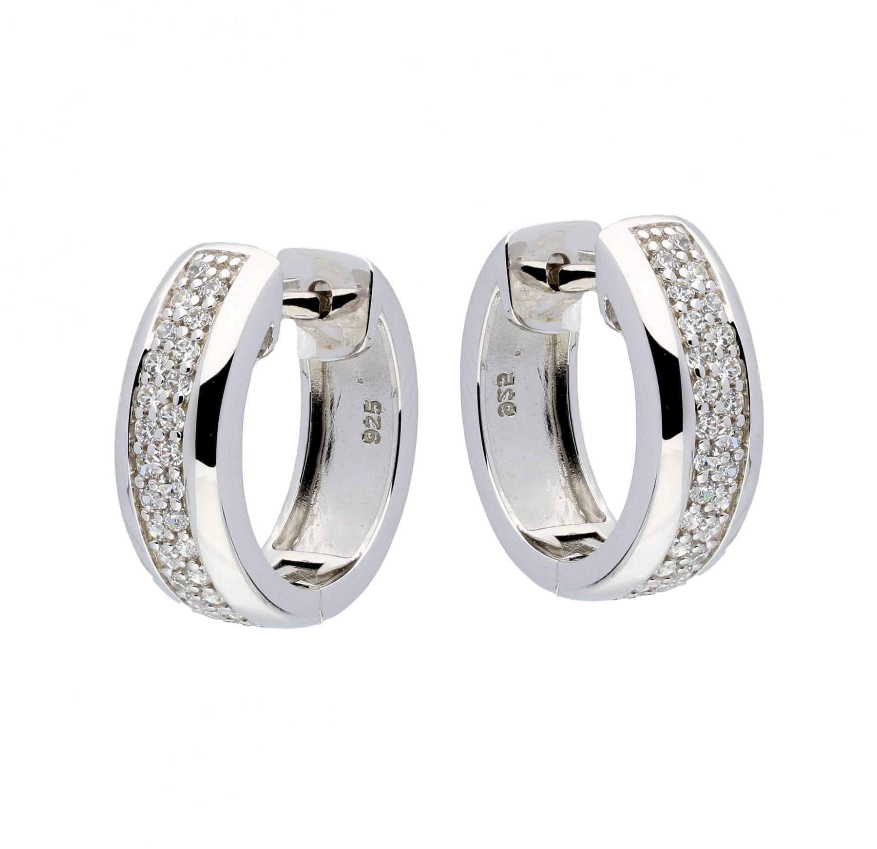 Zilveren Oorbellen klapcreolen met zirconia 15 x 5 mm 107.5280.15