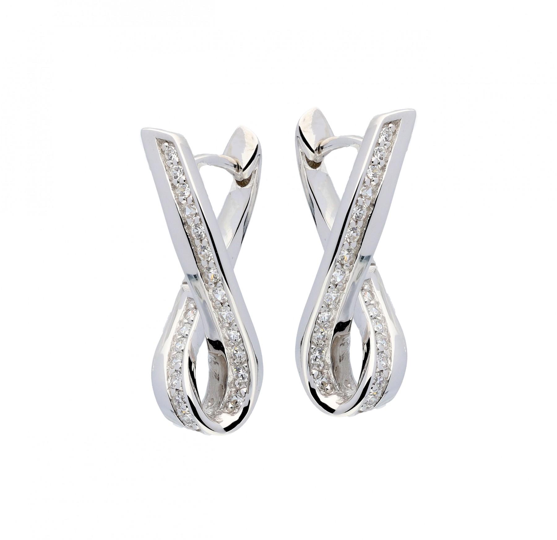Zilveren Oorbellen klapcreolen met zirconia 107.5150.00