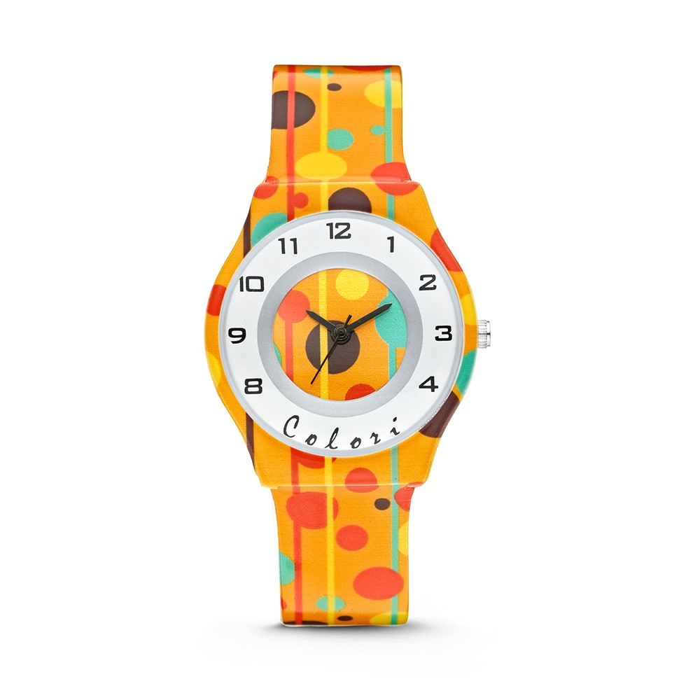 Colori Funtime 5-CLK041 - Kinderhorloge - siliconen band - stippen print oranje - 34 mm