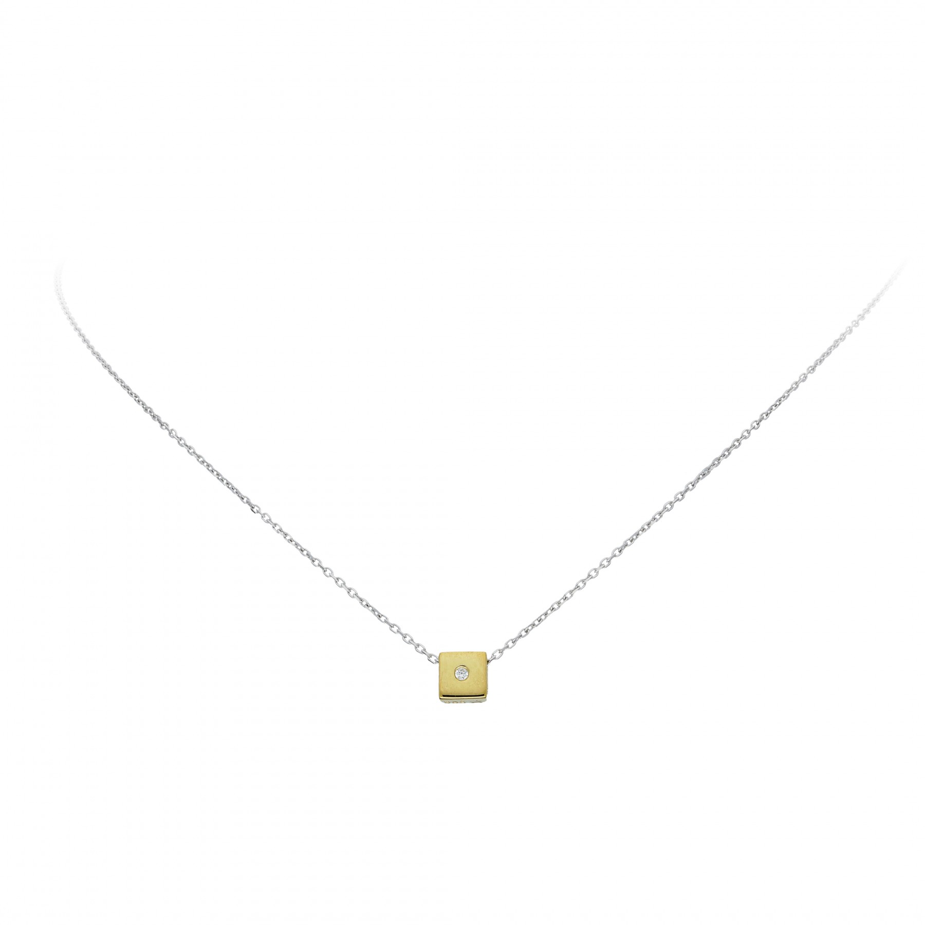 Glow Gouden Collier Met Hanger - 42 Cm Vierkant Zirko Ankerschakel 202.5022.42
