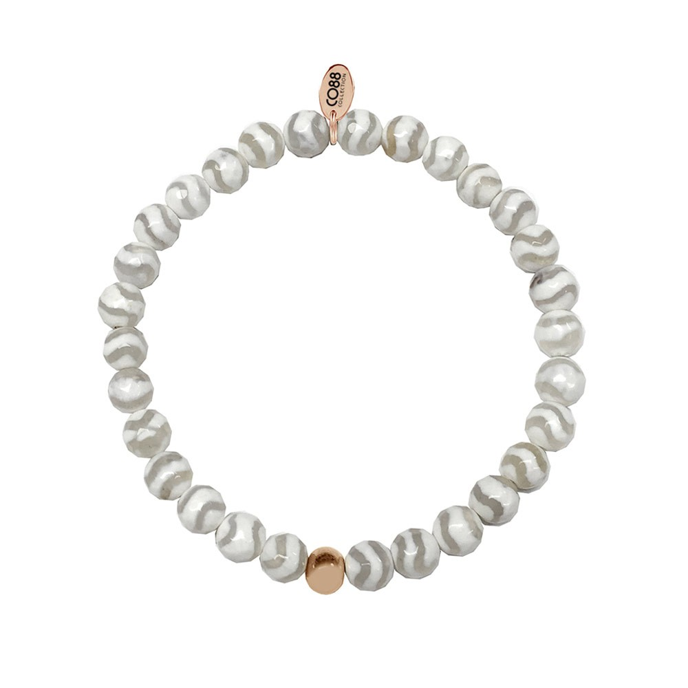 CO88 Collection 8CB-17001 - Armband met tag - staal en agaat natuursteen 6 mm - one-size - wit / grijs