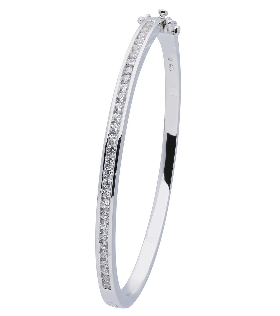 Classics zilveren Slavenband zirkonia 4 mm vierkant 58 gerodineerd 104.1146.04