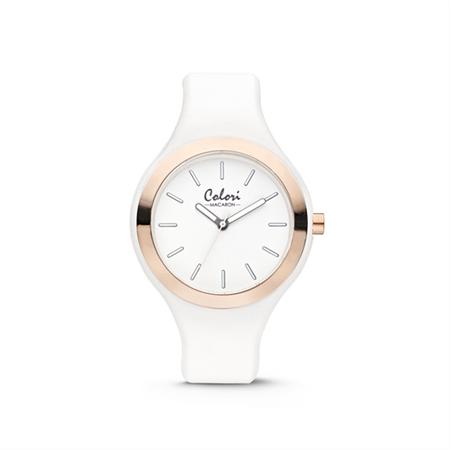 Colori Horloge Macaron staal/siliconen wit-rosékleurig 44 mm 5-COL430