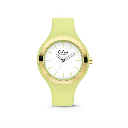 Colori Horloge Macaron staal/siliconen rosékleurig/lichtgroen 44 mm 5-COL434
