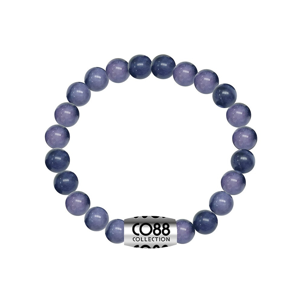CO88 Collection 8CB-17026 - Armband met bead - Sodalite natuursteen 8 mm - lengte 16,8 cm - blauw / paars