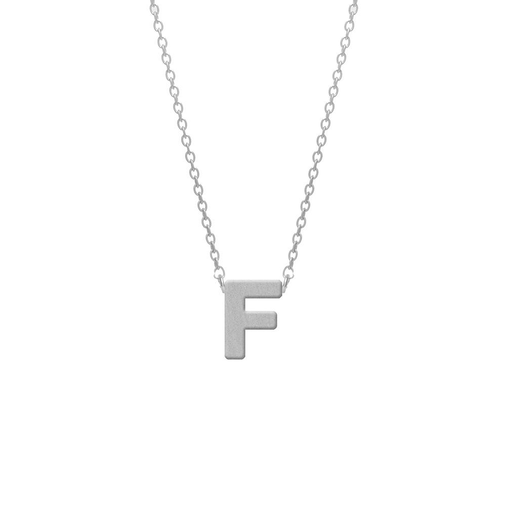 CO88 Collection 8CN-11005 - Stalen collier - letterhanger F 9 mm - lengte 42+5 cm - zilverkleurig