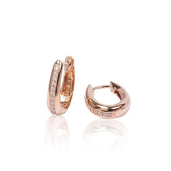 Zilveren rosé-plated klapcreolen - ovaal 13 mm - zirkonia - ronde buis 107.0324.15