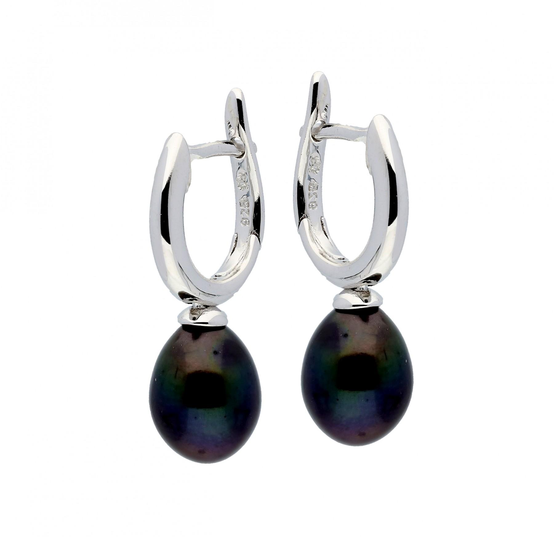 Zilveren Oorbellen klapcreolen met zwarte parel 107.5252.00