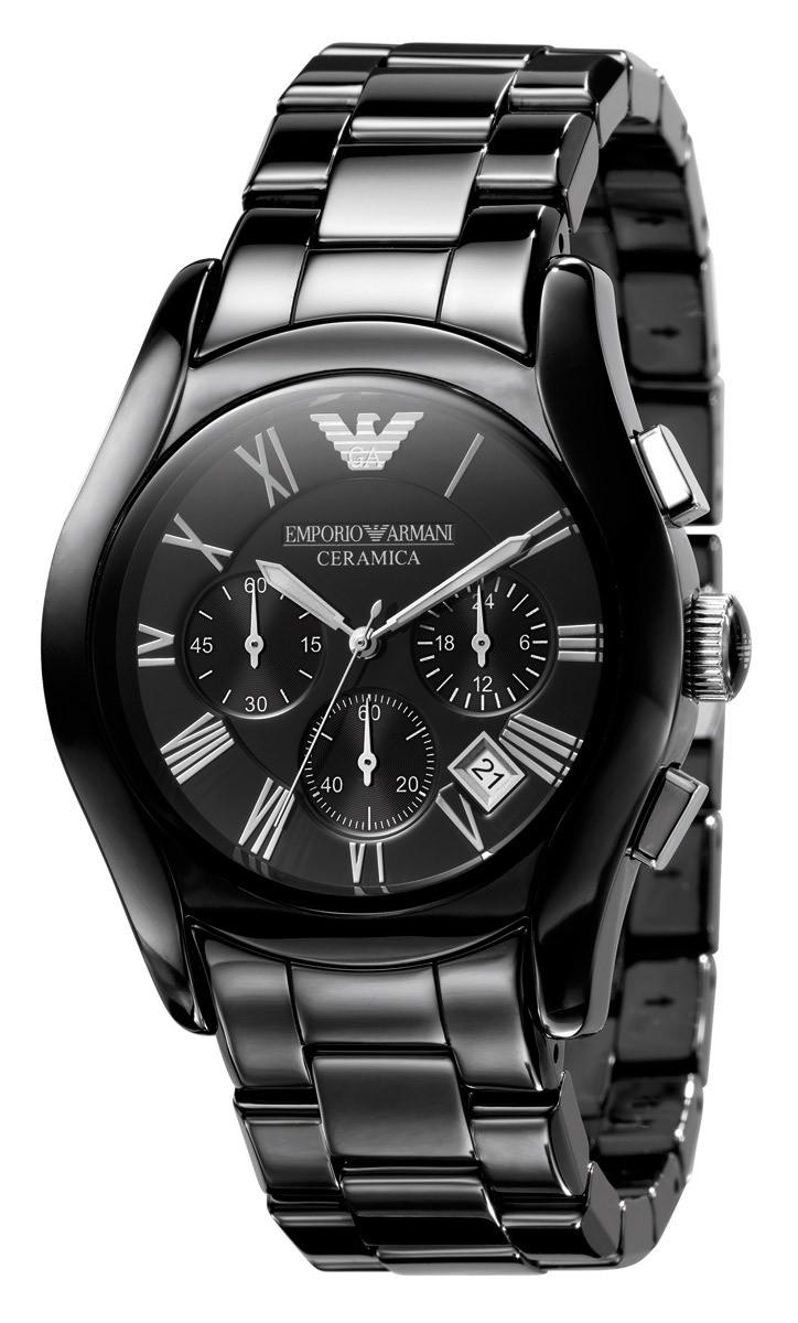 Emporio Armani AR1400 Horloge Valente staal zwart