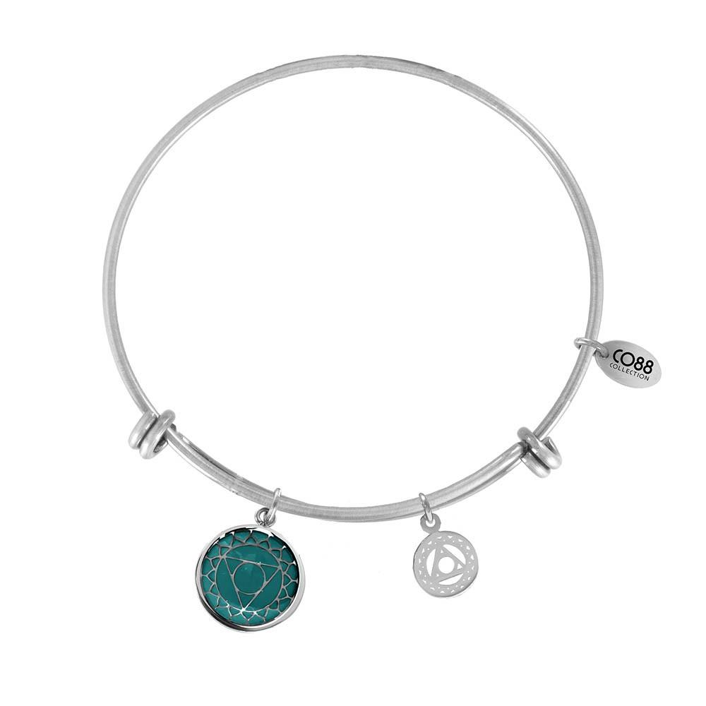 CO88 Collection 8CB-26002 - Stalen bangle met bedels - throat chakra - one-size - zilverkleurig / licht blauw