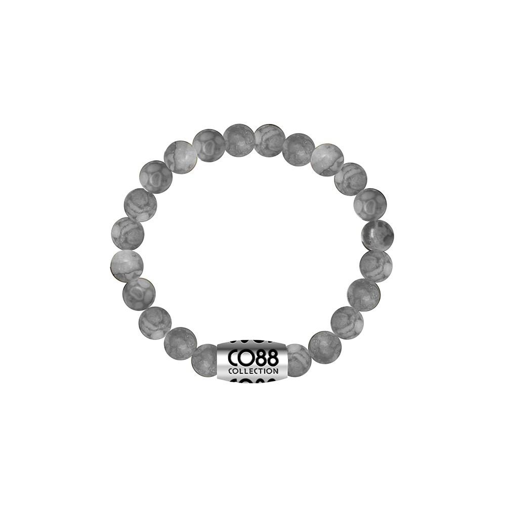 CO88 Collection 8CB-17023 - Armband met bead - Jasper natuursteen 6 mm - lengte 16 cm - grijs