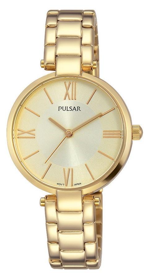 Pulsar Dameshorloge Goudkleurig, champagne wijzerplaat PH8244X1