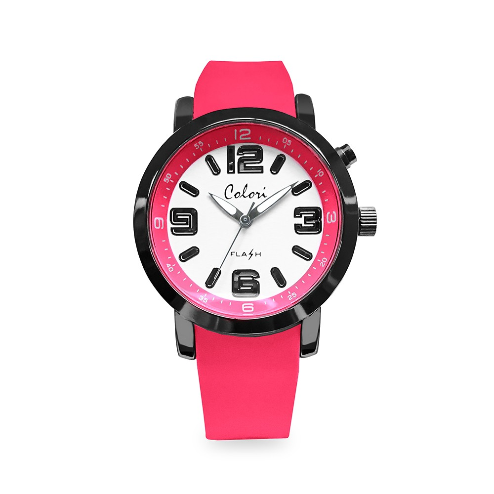 Colori Flash 5-CLK083 - Kinderhorloge - siliconen band - roze - Ø 34 mm