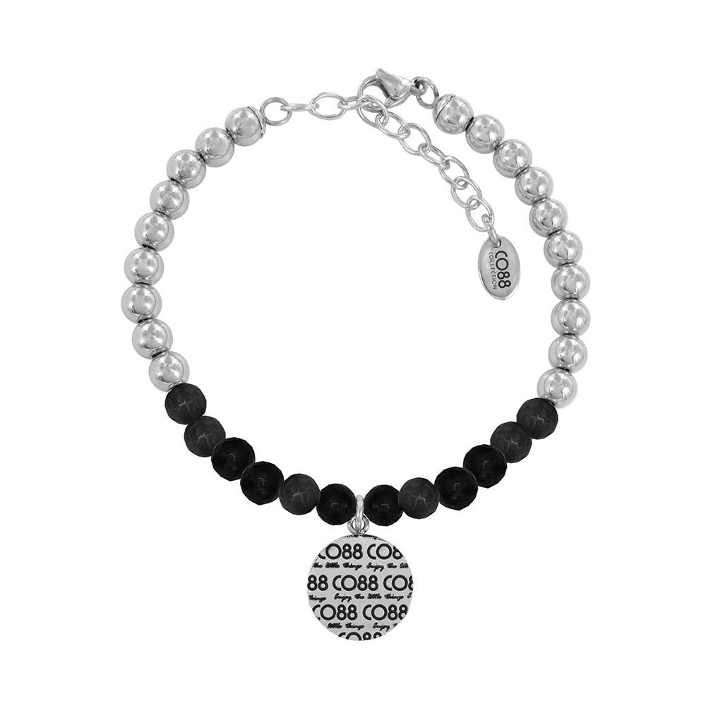 CO88 Collection 8CB-14001 - Armband met bedel - stalen en Jade natuursteen 6 mm - CO88 logo - lengte 17 + 5 cm - zwart /  zilverkleurig