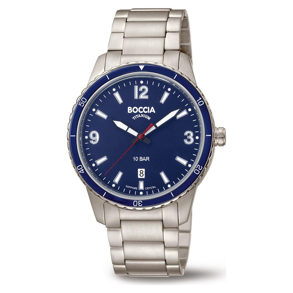 Boccia 3635-04 Horloge Titanium zilverkleurig-blauw 42 mm