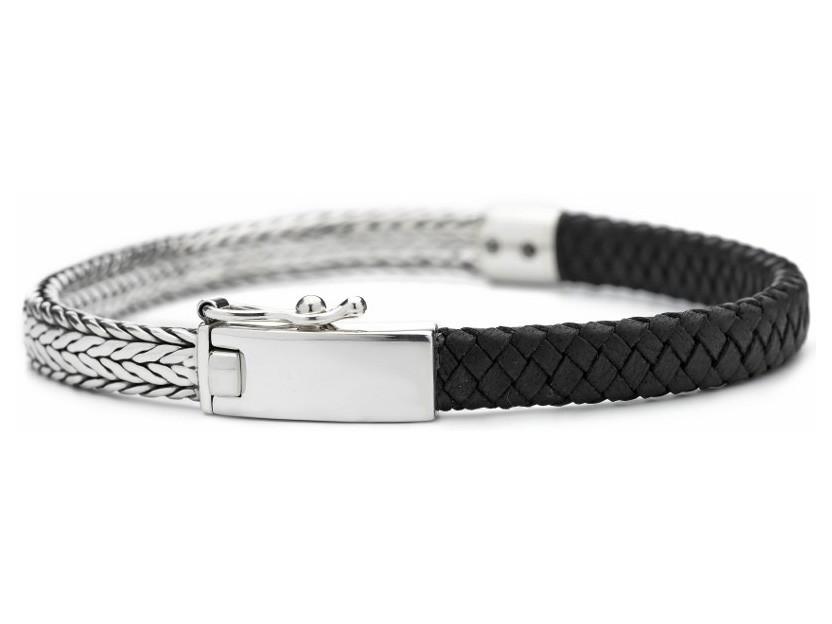 SILK Armband zilver-leder zwart 21 cm 369BLK