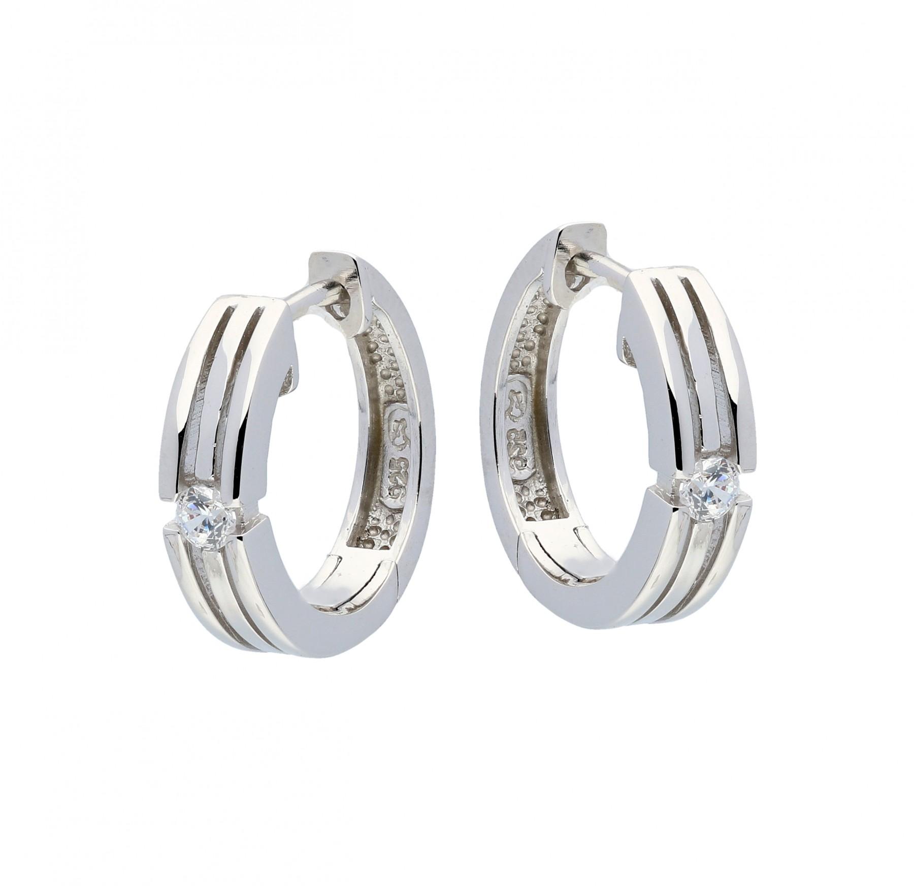 Zilveren klapcreolen - zirkonia - 4 mm - gerodineerd 107.5193.00
