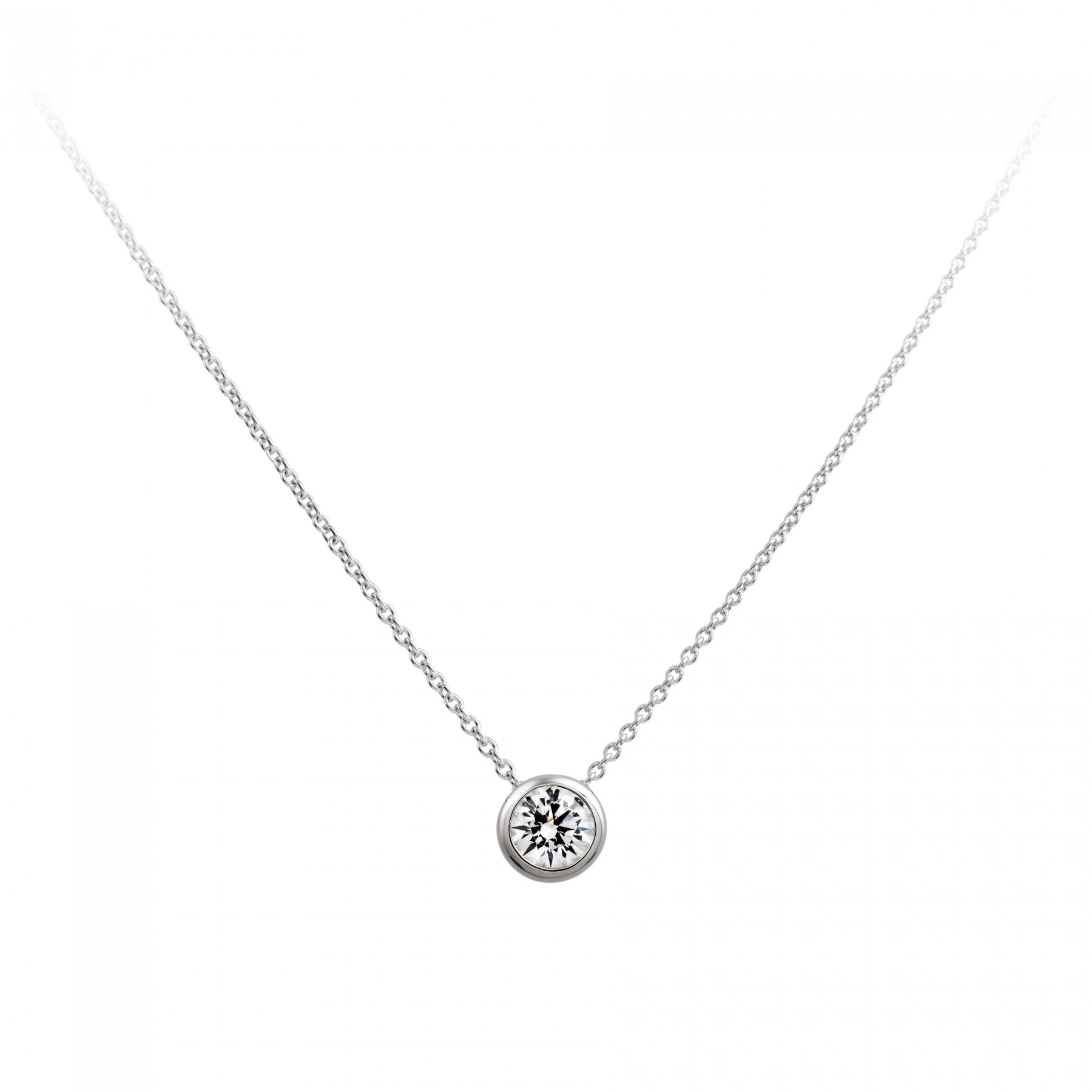 Diamonfire Zilveren Collier - 2.00 Ct 8 Mm 45 Cm Solitaire Kastzetting 803.0845.45