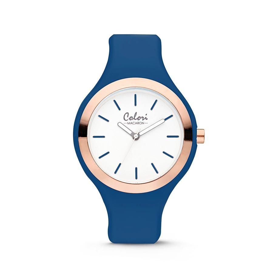Colori Macaron 5-COL506 - Horloge - siliconen band - blauw - 44 mm