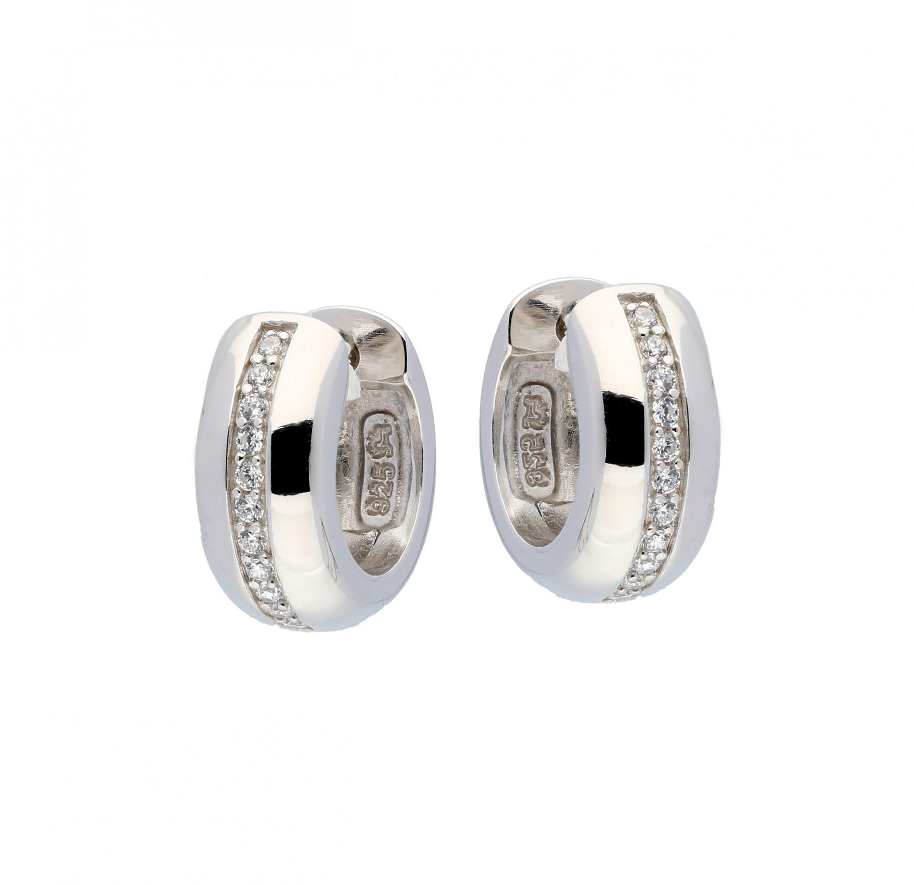 Zilveren klapcreolen - zirkonia - 4 x 14 mm - ronde buis - gerodineerd 107.0484.07