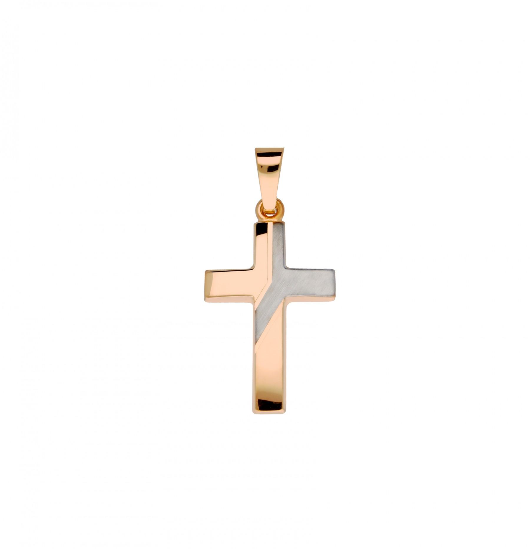 Religious 246.4000.00 Hanger kruisje goud wit- en rosegoudkleurig 25 x 12 mm