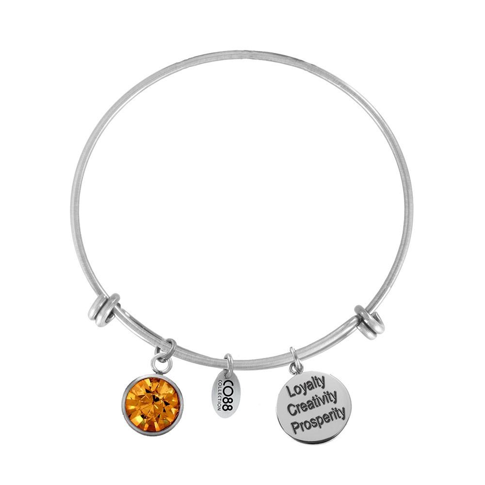 CO88 Collection 8CB-12035 - Stalen bangle met bedels - Geboortesteen november | Topaas - one-size - oranje / zilverkleurig