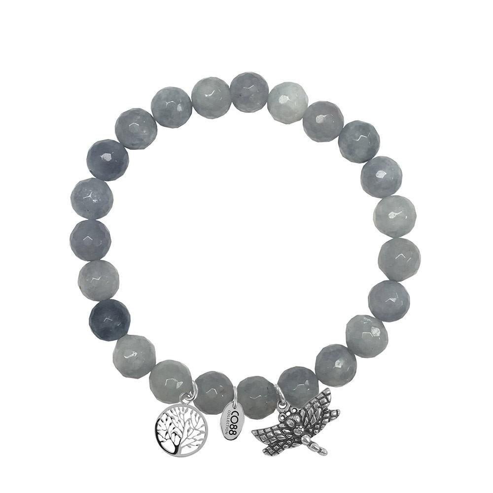 CO88 Collection 8CB-90009 - Armband met bedels - natuursteen en staal - Jade 8 mm - levensboom en libelle - one-size - grijs / zilverkleurig