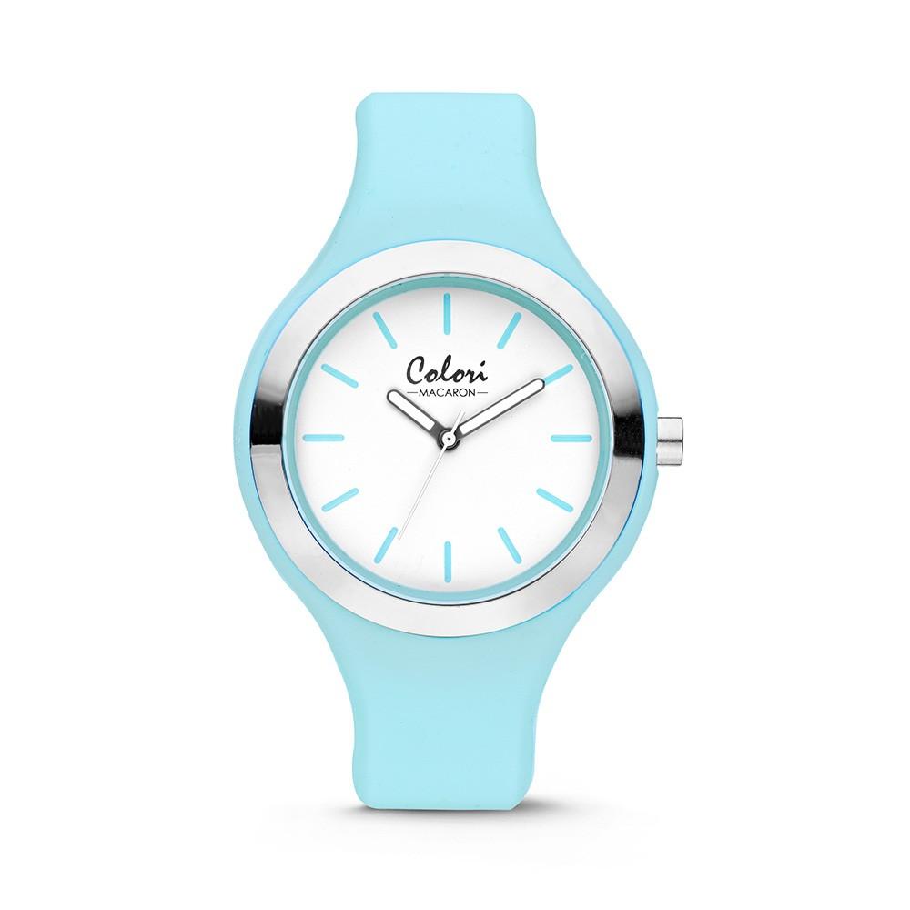 Colori 5-COL433 - Horloge - Pastel blauw en zilverkleurig - 44 mm