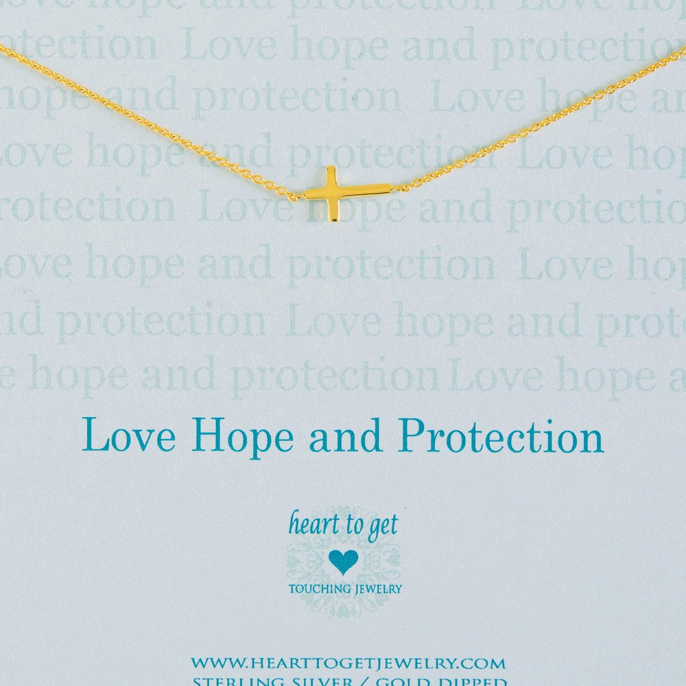 Heart to get N11CRO11G-2 Love hope and protection ketting goud