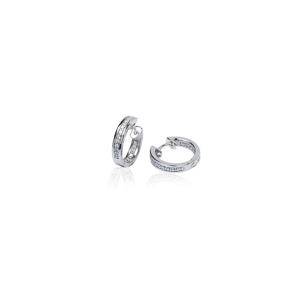 Zilveren klapcreolen - zirkonia - 1 x 15.5 mm - vierkante buis - gerodineerd 107.0482.14