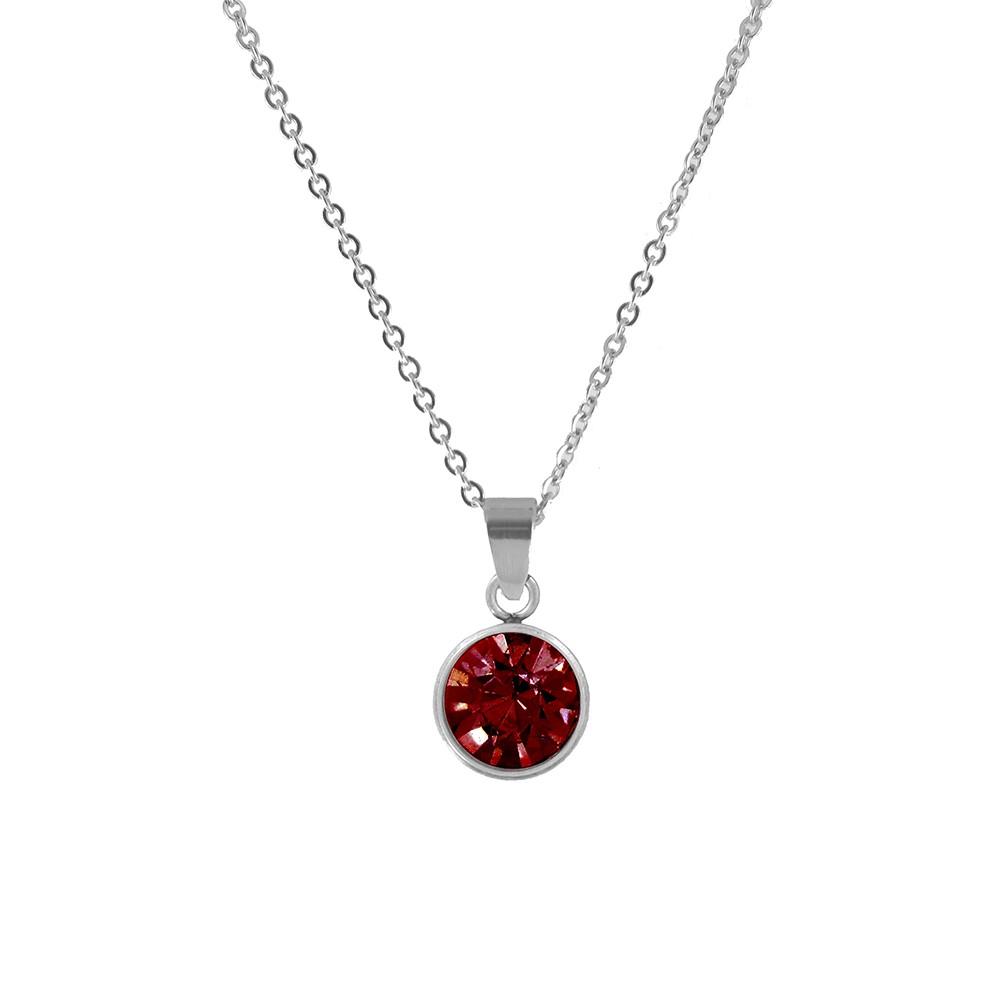CO88 Collection 8CN-10018 - Stalen collier met geboortesteen januari | siam 10 mm - lengte 42 + 5 cm - rood / zilverkleurig