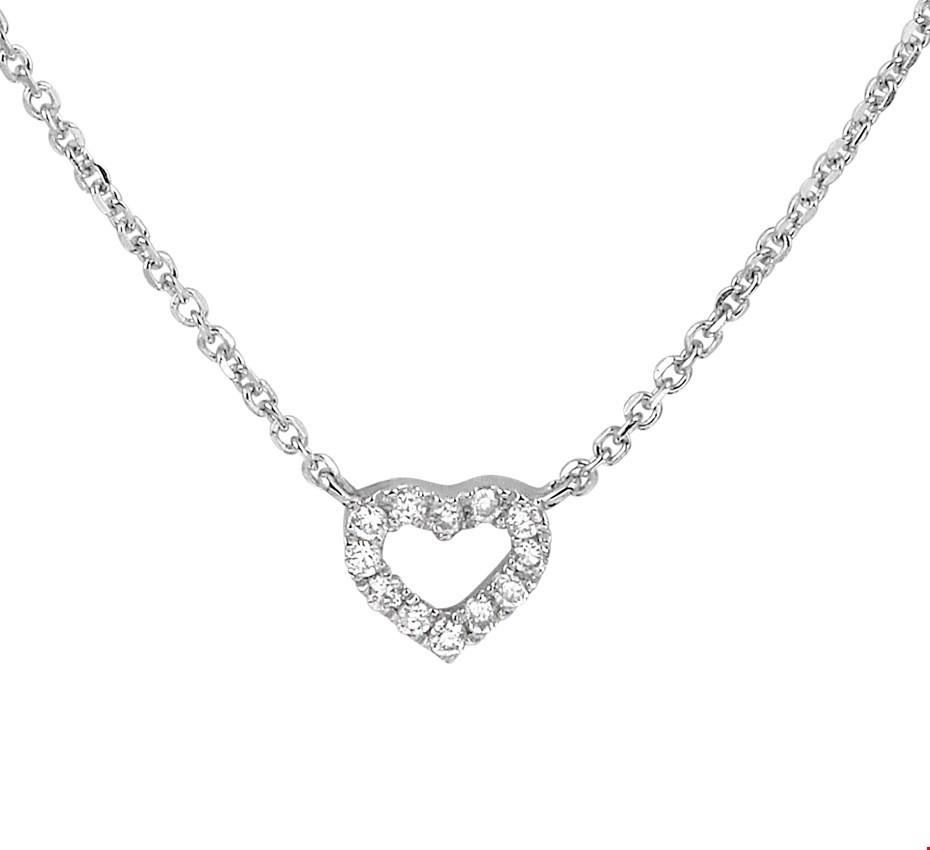 TFT Collier Witgoud Hart Diamant  0.05ct H  P1 1mm 41-43-45cm
