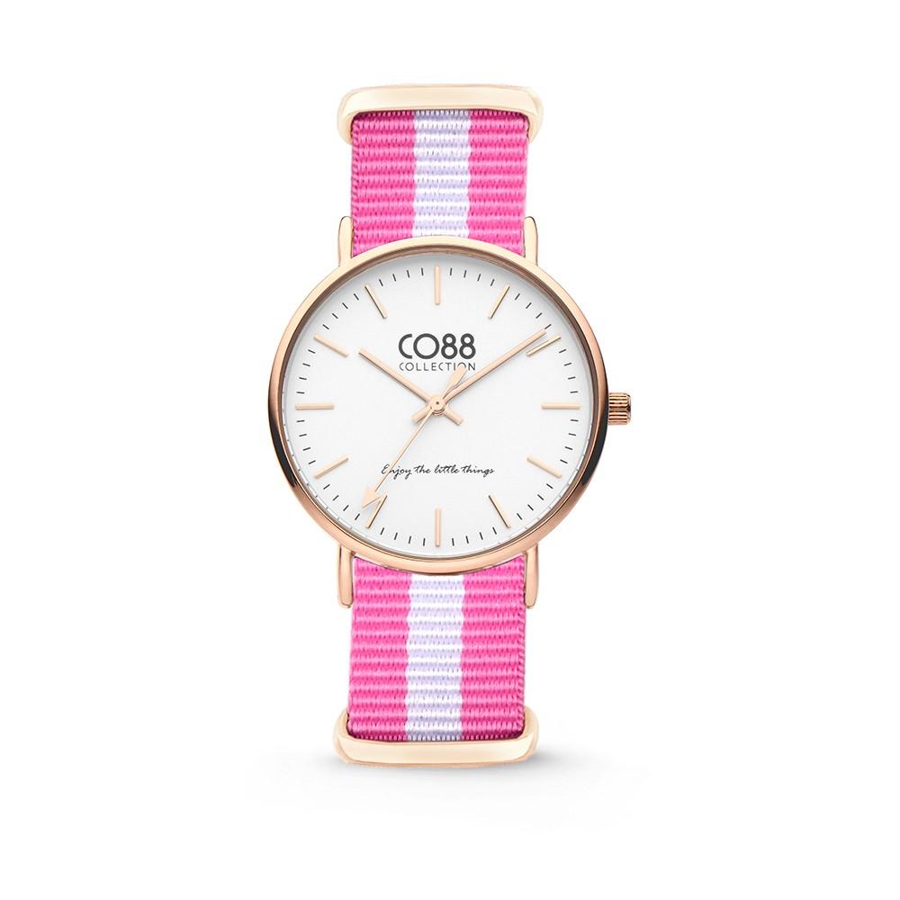 CO88 Collection 8CW-10026 - Horloge - nato nylon - roze/wit - 36 mm
