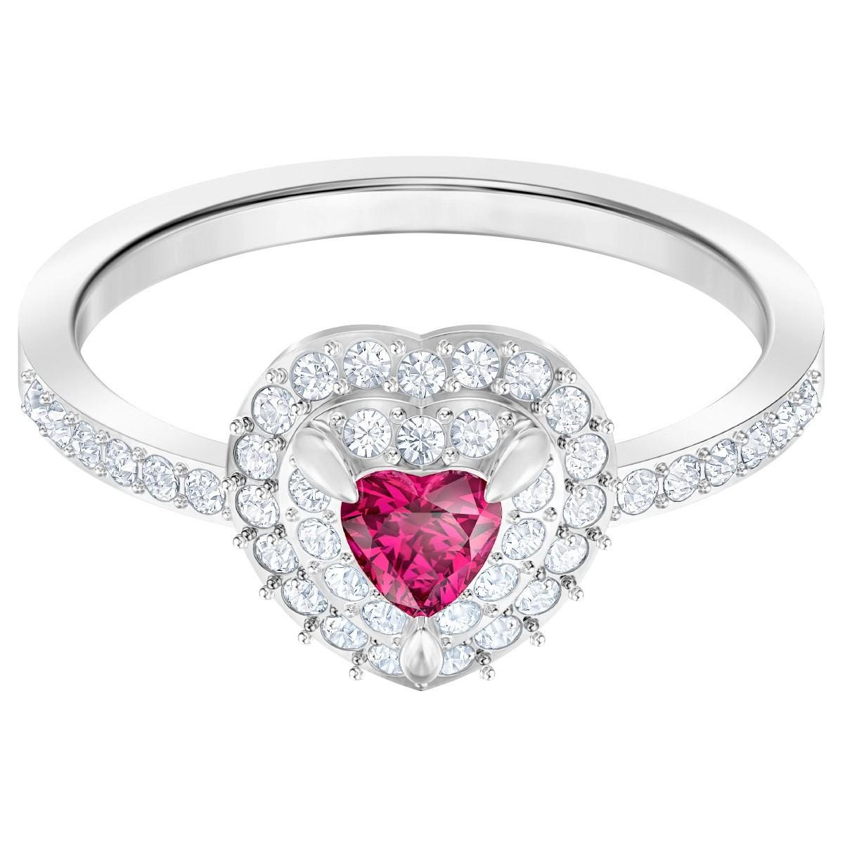 Swarovski 5446300 Ring One zilverkleurig-rood Maat 55