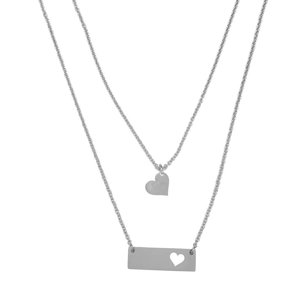 CO88 Collection 8CN-20021 - Stalen duo collier met hangers - bar & hart - lengte 46 cm - zilverkleurig