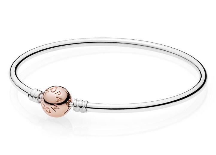 Pandora Rose Armband Bangle zilver met rosékleurige sluiting 17 cm 580713